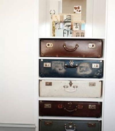 How creative are these drawers. Not sure I could do that to vintage suitcases though!