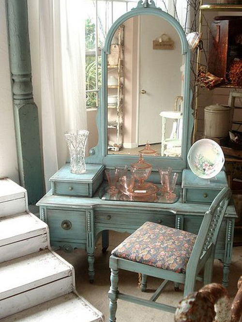 I adore this colour and the dresser is so understated and beautiful. Plenty of storage and doesn't seem to take up too much space. Gorgeous large mirror and a chair with a back. Not as keen on stools. Perfection!