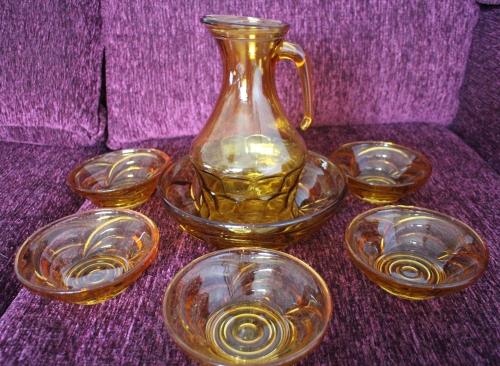 Orange Glass Bowl and Jug Set