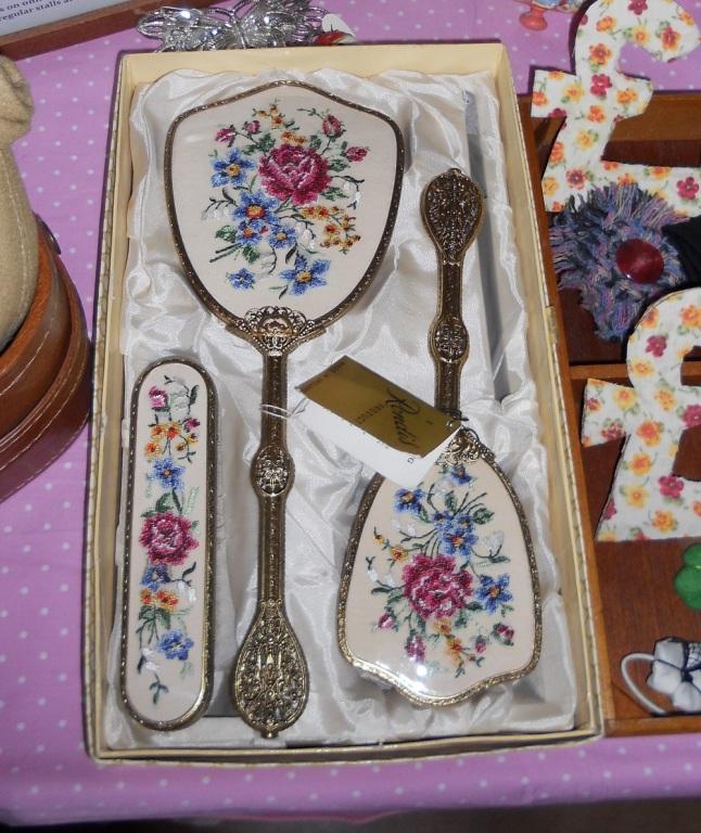 Hand Mirror and Brush Set